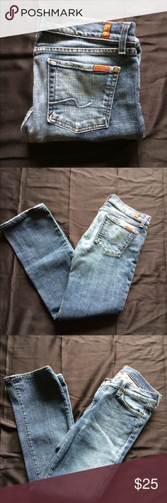 7 For All Mankind Jeans Seven W30 Excellent Great jeans by 7 For All Mankind. EUC. Waist is 30 inseam is 31 inches rise is 8 inches. Any questions please don't hesitate to ask. I ship Monday-Friday.  A20 7 For All Mankind Jeans