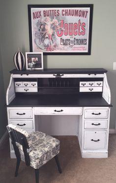 10 Tips for Painting a Rolltop Desk – Rockin' the Dots desk Makeover Desk Redo, Desk Makeover, Furniture Makeover, Repainted Desk, Refurbished Desk, Diy Computer Desk, Diy Desk, Retro Furniture, Repurposed Furniture