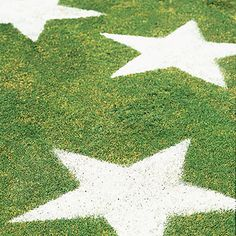 DIY Fourth of July Ideas - Lawn Stars Mist the patch of grass with a spray bottle of water.    3. Place the stencil on the grass and, using a sifter or large strainer, sprinkle a very small amount of white flour into the stencil.    4. Carefully remove the stencil and dispose of the excess flour. For a longer-lasting star that can be walked on, use spray or marking chalk. brilliant!