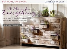 At a haberdashery in Milan, we marveled not at the silken ribbons on display, but the richly finished multi-drawer cabinet that held them. Our 20 Drawer Cabinet combines those intricate details with a vintage finish. Each is made from reclaimed wood sourced from old houses and temples, and each retains a unique character. Arhaus.com