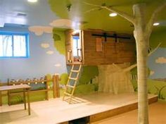 kids room with tree house