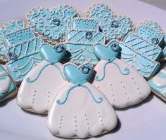 One Dozen Tiffany White and Blue Decorated Sugar by AlisSweetTooth, $36.00