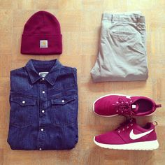Outfit grid - Denim shirt & beanie
