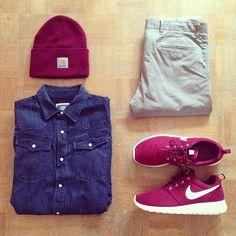 Outfit grid - Denim shirt & beanie