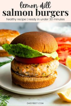 Mix up your weeknight meals with these healthy and fresh lemon dill salmon burgers! Paired with lemon dill yogurt sauce, have them on the table in under 30 minutes. #salmonburgers #grillingrecipes #salmonrecipes Salmon Recipes, Fish Recipes, Seafood Recipes, Healthy Pasta Dishes, Healthy Pastas, Lemon Dill Salmon, Healthy Grilling Recipes, Pescatarian Recipes, Seafood Dinner