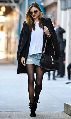 Denim mini skirt with tights, Great idea for summer fashion!