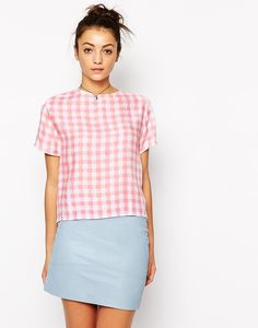 Trend Report: Ways To Rock The Retro Gingham Print. ASOS Motel Prana T Shirt Blouse in Gingham Pink