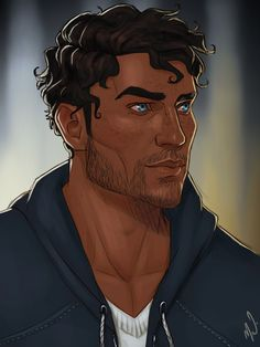 """thecryoftheseagulls: """" Belated birthday present to myself! I commissioned the lovely @cocotingo to draw my Logan Hawke and he looks aaamazing. I asked for modern!Logan specifically, so this is how he would look in my modern au handers fic, Home. """""""