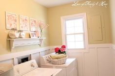 pink and yellow laundry room