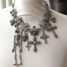 Butler & Wilson Silver Tone Cross, Skull, Skeleton, Crown Necklace £128