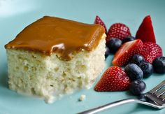 """Popular in Latin America, """"Tres Leches Cake"""" or """"Pastel de Tres Leches"""" is a light and fluffy cake soaked with a mixture of three milks: sweetened condensed milk, evaporated milk, and heavy cream(leche means milk in Spanish). It's a homey cake served right in the baking pan and, as you can imagine, it's decadently moist, almost like bread pudding"""