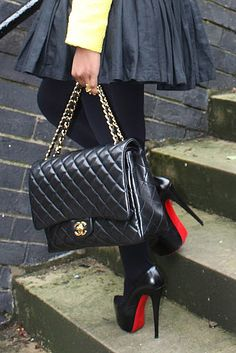 Chic sex in the city street style; street  fashion fall - Chanel and Louboutins