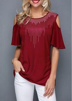 105e0573 #AdoreWe #Rotita - #unsigned Round Neck Cold Shoulder Half Sleeve T Shirt -