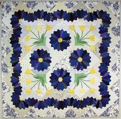 gorgeous dresden plate navy and yellow - same pattern different colors