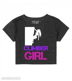 climber girl crop top | Featuring a woman rock climbing white silhouette and the text 'Climber girl', copyright Mindgoop #Skreened