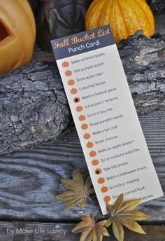 Fall Activities Bucket List Punch Card - Make Life Lovely