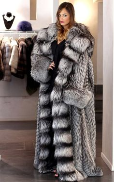 Huge Silver fox fur coat