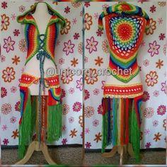 LISTO PARA ENVIAR! Unicornio de Guerrero arcoiris del ganchillo mandala con capucha chaleco correspondiente utilidad festival la correa