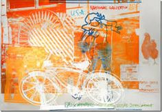 """Own an original foil print by one of the top artists of the Century. """"Bicycle, National Gallery"""" is by Robert Rauschenberg and this foil print measures 39 x with an image size of 39 x Original exhibition poster with foil on Robert Rauschenberg, Pop Art, Andy Warhol, National Gallery, Art Commerce, Poster S, Mark Rothko, Art Icon, American Artists"""