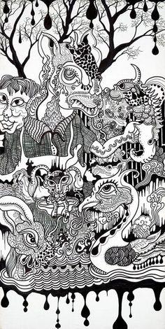 Ghosts and monsters Cloth Mark pen Illustration Zhu jingyi 朱敬一 微网址:www.zhujingyiart.com