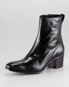 a5adce16b1c Yves Saint Laurent 2263 Yves Saint Laurent Jonny Python-Embossed Boot - ShopStyle  Shoes