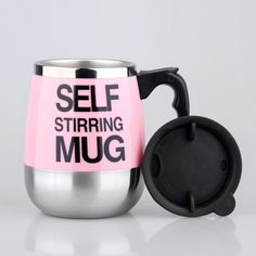 450ml Automatic Self Stirring Coffee Cup Electric Rotary Tatu Cup Mug Stainless Steel Interior with Lid