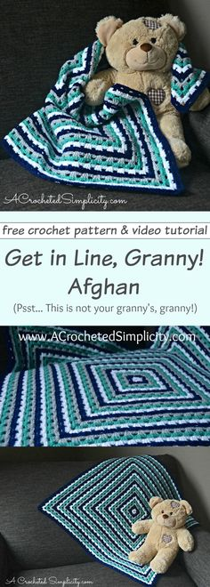 Free Crochet Pattern - Get in Line Granny Afghan (video tutorial included : FREE Crochet Pattern – Get in Line, Granny! Afghan (video tutorial included) – by A Crocheted Simplicity Granny Square Crochet Pattern, Afghan Crochet Patterns, Crochet Squares, Crochet Granny, Baby Blanket Crochet, Knitting Patterns, Granny Squares, Crochet Blankets, Crochet Afghans