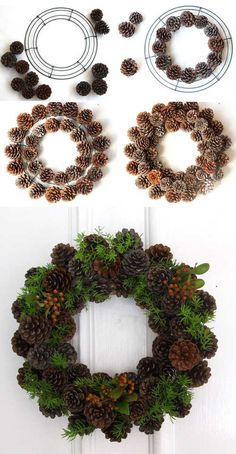 Easy & long lasting DIY pinecone wreath: beautiful as Thanksgiving & Christmas decorations & centerpieces. Great pine cone crafts for fall & winter! - A Piece of Rainbow Christmas Garden, Noel Christmas, Christmas Crafts, Christmas Ornaments, Christmas Ideas, Diy Christmas Home Decor, Christmas Swags, Burlap Christmas, Xmas