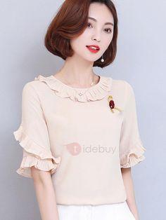 TideBuy - TideBuy Ladylike Plain Falbala Half Sleeve Blouse - AdoreWe.com