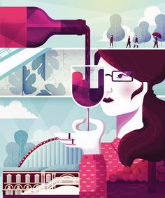 Maïté Franchi | Folio illustration agency | https://folioart.co.uk/maite-franchi | #digital #illustration #wine #character