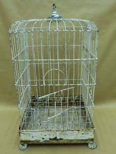 Antique White Metal Bird Cage, 16 x 16 x 26 in
