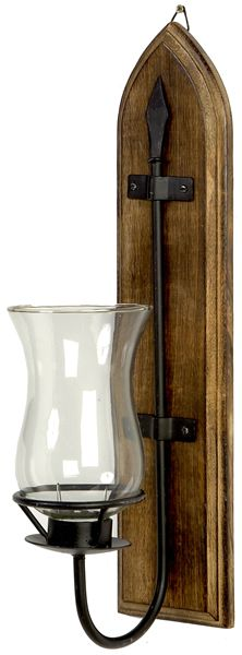 Wooden Back Iron Scone With Glass Shade. This popular rather elegant candle sconce is made from iron that is mounted to wooden back. A clear glass lamp keeps candle alight. We recommend using our Fatchurch candles to accompany this traditional wall scon