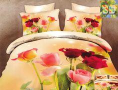 Modna pościel z bawełny w kolorze kremowym w kolorowe róże