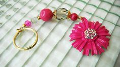 Bright pink flower and chunky bead keychain with a touch of sparkle by mscenna
