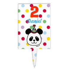 #funny - #Personalized Big Face Panda Cartoon Birthday Cake Topper