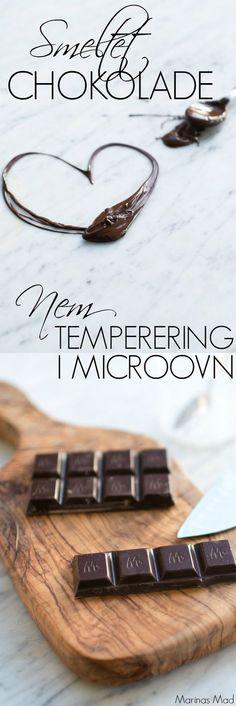 Den nemmeste og sikreste metode til at smelte chokolade. Brug mikroovnen og hav perfekt temperet chokolade på få øjeblikke. Trin for trin opskrift fra Marinas Mad.