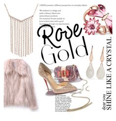 """Rose Gold Jewelry"" by clotheshawg ❤ liked on Polyvore featuring Gucci, Monica Vinader and Christian Louboutin"