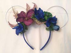 Dark Blue Purple Pandora Avatar Floral Mickey Mouse Ears