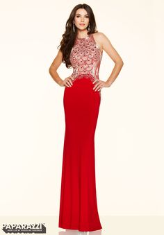 Prom dresses by Paparazzi Prom Beaded Jersey Zipper Back Closure. Colors Available: White, Red