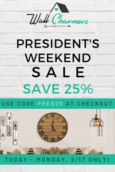 Don't miss your chance to SAVE 25% off EVERYTHING today through Mon, 2/17! Yes, EVERYTHING is on sale! From our faux taxidermy heads and skulls to our rustic farmhouse decor!  Use code PRES20 at checkout to receive 25% OFF! We know you'll LOVE your Wall Charmers as much as we enjoyed making them!