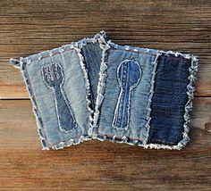 Blue Jeans Hot Pads - Appliqued Denim Potholders - The Best Potholders Ever