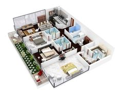 4-efficient-3-bedroom-floor-plans love the huge bedrooms and indiv baths and ofc the perfect kitchen! the master bedroom with that bath and closet is PERFECT