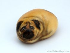 pug - painted rock, stone art by Buntes SteinAtelier