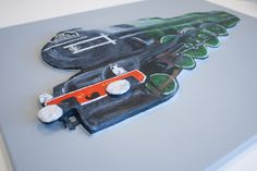Close up of the The Flying Scotman No. 4472″ 3D Acrylic Painting.