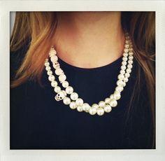 a skull between pearls
