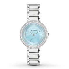 Show off your fashionable side with this women's watch from the Citizen Silhouette Crystal collection. Sparkling clear crystals encircle the 30mm stainless steel case, perfectly framing the chic light blue mother-of-pearl dial that is topped by a mineral crystal. The stainless steel bracelet secures with a push-button fold-over clasp. The women's watch features an Eco-Drive movement, powered by any light, so it never needs a battery.