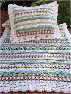Crochet Baby Blanket Pattern - Easy Crochet Pattern by Deborah O'Leary Patterns Crochet Pattern - Crochet Baby Blanket Pattern - Crochet Baby Pillow Pattern - Charlotte's Garden Baby Blanket - by Debo. Crochet Pillow, Baby Blanket Crochet, Crochet Baby, Easy Baby Blanket, Crochet Blankets, Knit Crochet, Afghan Crochet Patterns, Baby Patterns, Crochet Stitches