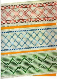 Top and middle - Doubled Swedish Embroidery, Types Of Embroidery, Diy Embroidery, Embroidery Patterns, Cross Stitch Patterns, Swedish Weaving Patterns, Monks Cloth, Weaving Designs, Chicken Scratch