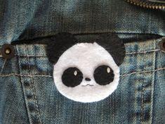 Felt brooch, kawaii brooch, panda badge, brooch handmade, kawaii animals, panda…