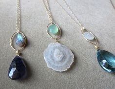 Gorgeous necklaces for summer! Semi-precious stones, gold-fill and sterling www.halliescomet.com